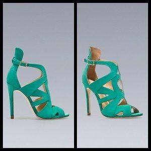 Zara basic green leather suede heels!